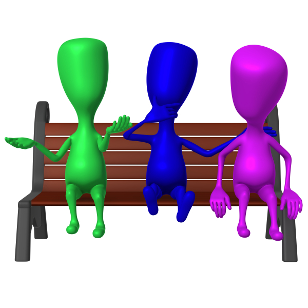 Three figures – one blue, one green and one cerise – sitting on a park bench.